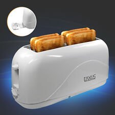 Langschlitz Toaster 4-Scheiben Cool Touch Gehäuse 1300W + Krümelfach Weiß Eaxus