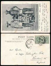 GOLD COAST KE7 1910 AXIM CROWNED CANCEL PPC SIERRA LEONE KROO PEOPLE UMBRELLA