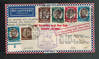 1934 Germany Catapult Cover Bremen to New York USA # 432-435 comp set Roessler