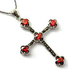 Kreuz Granat farbe Zirkonia Markasit Anhänger  925 Silber Sterlingsilber