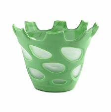 """New 8"""" Hand Blown Glass Art Vase Green White Decorative"""