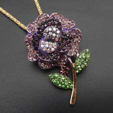 Betsey Johnson Necklace Purple Flower Pendant