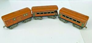 Vintage 1920's Prewar AMERICAN FLYER Lines Tin Train 3 Cars Set, O-scale