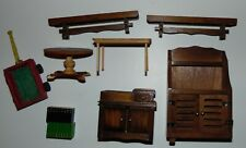 Vintage wood dollhouse furniture lot people and other pieces big lot