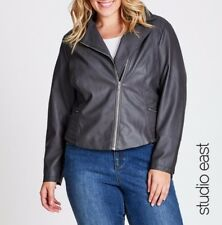 Plus Size DARK GREY STUDIO EAST PU BIKER JACKET (Autograph)  Size 24 Free Post