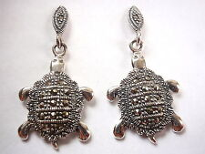 Marcasite Turtle Stud Earrings 925 Sterling Silver Dangle Corona Sun