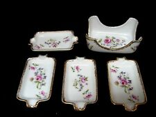 LOT 4 + 1= Princess China E W Japan ashtrays + caddy holder HAND PAINTED floral