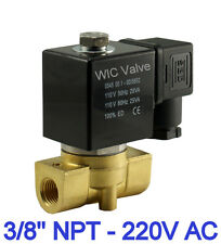 "3/8"" Inch Brass Direct Acting Electric Solenoid Valve Normally Closed 220VAC NBR"