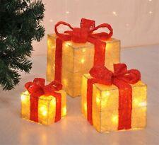 3er Set beleuchtete Geschenkboxen Geschenke Box Weihnachten Deko Lampe beige