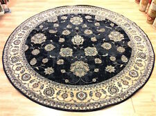 Faded NAVY BLUE Traditional Afghan Ziegler Des. 100% Wool Round Rug 240cm 50%OFF