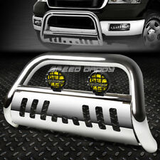 CHROME BULL BAR GRILLE GUARD+YELLOW FOG LIGHT FOR 99-04 FORD SUPERDUTY/EXCURSION