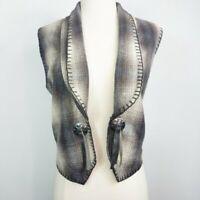 Vintage Plaid Wool Western Style Concho Vest Womens Medium Cowgirl Rodeo Boho