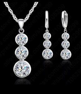 Silber Schmuck 925 Set Schmuckset Silber 925 Halskette + Anhänger + Ohrringe 925