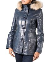 Women's Blue/Navy Colour Leather Hooded Duffle Coat with Horned Toggle Buttons