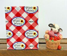 Nos Collectable Mary's Moo Moos Cow In Basket With Apples