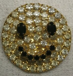 DOROTHY BAUER smiley face  pin in Swarovsk Austrian Crystal Clear & jet  g