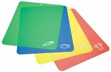 Set of 4 Flexible Chopping Boards Flexible Cutting Sheets Mats Colour Coded