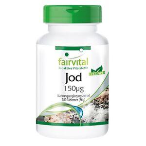 Jod 150µg - 180 Tabletten ohne Trennmittel   Großpackung   VEGAN   fairvital