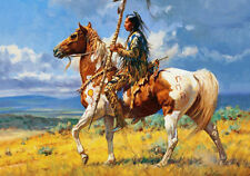 Native American Indian on Horse Pony Tribal Quality Canvas Print