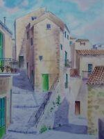 Fausto Rizzo  Acquerello MUSSUMELI sicilia paesaggio borgo case