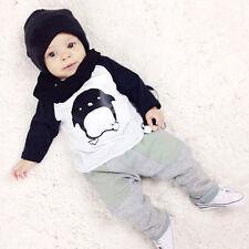 2pcs Newborn Toddler Kid Baby Boy Girl Clothes T-shirt Tops Pants Outfits Set UK White Socks 6-18 Months
