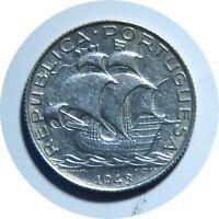 PORTUGAL 2 1/2 ESCUDOS 1943 SILVER COIN, AU-UNC C11