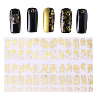 Gold Rose Leaf Floral 3D Nail Art Stickers  Adhesive Transfer Decoration