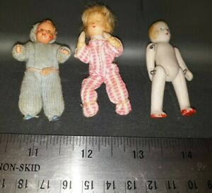 3 MINIATURE DOLLHOUSE  DOLLS GERMAN CACO ERNA MEYER BISQUE BABY CHILDREN LOT
