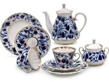 Russian Imperial Lomonosov Porcelain Tea Service Set Bluebells 6/14 LFZ