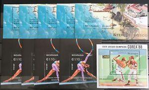 NICARAGUA 1987/89 Sport Baseball Korea Gymnastics Sheets Mnh x 10 (LA44