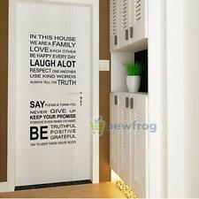Removable Rules Word Vinyl Wall Sticker Family Window Kid Room Living Room Decor