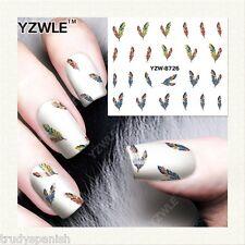 Nail Art Water Decals Transfers Stickers Mini Winter Feathers Gel Polish (8726)