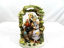 Vintage Ceramic Elderly Couple Sitting on a Bench Hand-Painted Porcelain