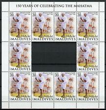 More details for maldives mahatma gandhi stamps 2019 mnh famous people historical figures 10v m/s