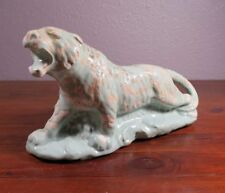 Cameron Clay Products Tiger Planter Pottery Unusual Spattered Green Glaze Bisque