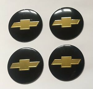 Set of 56mm Black Domed Wheel Centre Cap Cover Stickers For Car Chevrolet Chevy