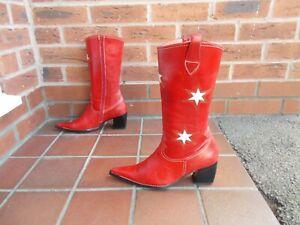 JOSE HERNANDEZ Red Leather Cowboy Boots * sz 6 uk *