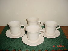 "8-PIECE PFALTZGRAFF ""FILIGREE"" COFFEE CUPS & SAUCERS/WHITE/STONEWARE/STAMPED!"