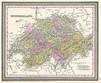 MAP ANTIQUE MITCHELL 1853 SWITZERLAND HISTORIC LARGE REPRO POSTER PRINT PAM1136
