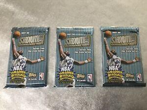 Three Topps 1997-98 Stadium Club NBA Basketball Cards Series 2 Even Foil Packs