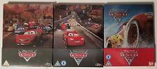 RARE Disney Pixar Cars 1, 2 & 3 3D Blu-Ray Limited Edition Steelbook Set