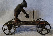 Vintage Gong Bell 1910's Bear in Sweater Cast Iron Bell Toy w/ cast iron Wheels