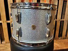 "Vintage Ludwig 13"" Silver Sparkle Tom Keystone Badge Red Muffler"