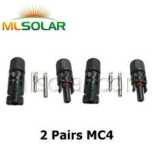 2 Pairs M/F MC4 Male Female 30A Wire Cable Connector Set Solar Panel USA