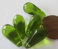 48 Czech Glass Big Olive-Peridot Green Drop Beads 14mm x 7mm