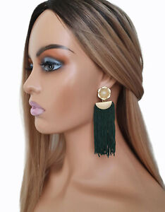 10cm long DARK bottle GREEN & matt gold tone & pearl long tassel drop earrings
