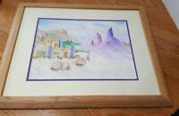 Southwest Pueblo Adobe Purple Mountains Watercolor Painting 18x22 Framed Matted