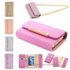 Diamond Bling Leather Flip Wallet Card Slot Case Cover for iPhone 5 6s 7 Samsung