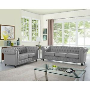 Naomi Home Emery Chesterfield Love Seat & Sofa with Rolled Arms, Tufted Cushions