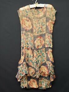 Vintage Women's 20s Flapper Era Floral Brown Chiffon Drop Waist Dress Estate